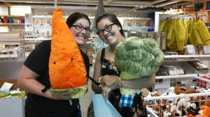 We made some friends at IKEA. My new pal is Brock the broccoli, and Kelly is holding Carrot Top
